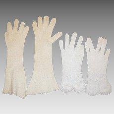 2 Pairs of Circa 1930's Irish Lace Gloves, Small