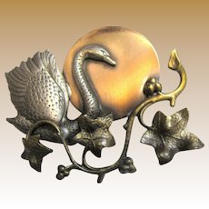 Copper, Brass & Pewter Swan Pin by K & T
