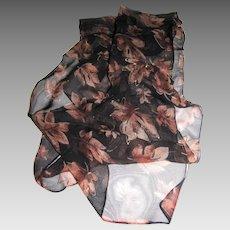 """Gilt Rayon Chiffon 60"""" Leaf Design Scarf"""