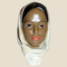 """10"""" Vintage Ceramic Bust of Woman of Color"""