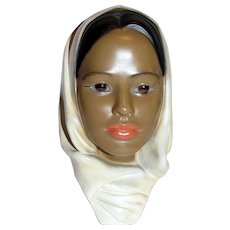 "10"" Vintage Ceramic Bust of Woman of Color"