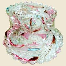 Italian Murano Latticino Aventurine Art Glass Bowl
