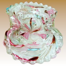 Italian Murano Latticino Aventurine Art Glass Bowl