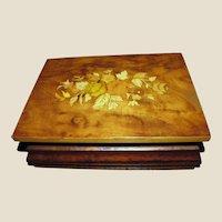 Beautiful Sorrento Inlaid Music Jewelry Box - Edelweiss