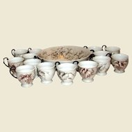 Hutschenreuther Bavaria Germany Grape Design Bowl with 14 Cups (Signed by Cecelia Lorz 1976, Mint