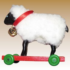 Miniature Hand Made Wooden Sheep on Wheels for Doll Display