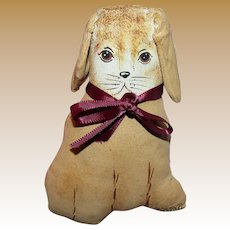 """4 1/2"""" Primitive Hand Painted Canvas Dog for Doll Display"""