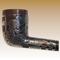 Sterling Overlay Horse-Racing Design Smoking Pipe