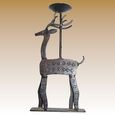 Hand Forged Iron Reindeer Candle Holder, Holiday Perfect
