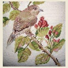 "Wool Needlepoint & Petite Point 15"" Bird Pillow"