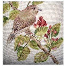 "Wool Needlepoint & Petite Point 15"" Bird Pillow"