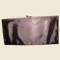 Brown Metallic Fabric Evening Clutch or Shoulder Purse