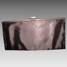 Brown Metallic Fabric Evening Clutch or Shoulder Purse