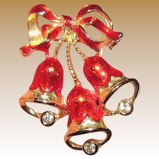 Christmas Bells Red Enamel, Rhinestone Goldtone Pin