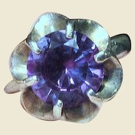 Mexican Sterling Synthetic Alexandrite Ring, Size 5.5,  5.2 grams