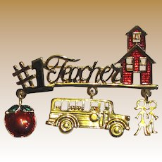 Signed Danecraft Goldtone Enamel Teacher Pin