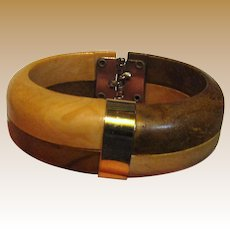 1970's Hong Kong Faux Wood Clamper Bracelet