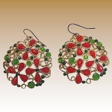 Goldtone Filigree Inlaid Green & Red Dangle Earrings