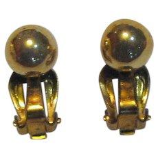 Classic Mid Century Japan Goldtone Clip Ball Earrings