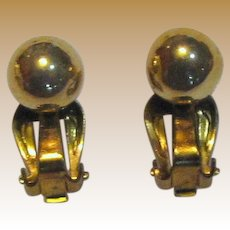 Classic Mid Century Japan Goldtone Clip Ball Earrings