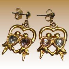 Avon Love Birds Crystal Goldtone Hearts Dangle Earrings