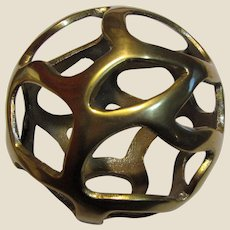"""4 3/4"""" Brass Pierced Sphere - Christmas or Tabletop Ornament (3 available)"""