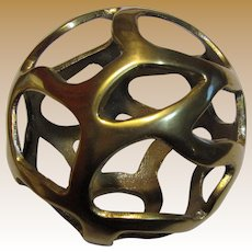 "4 3/4"" Brass Pierced Sphere - Christmas or Tabletop Ornament (3 available)"
