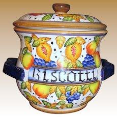 Huge Hand Painted Italian Ceramic Biscotti Jar