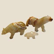 3 Vintage Hand Carved Onyx Polar Bear Sculptures