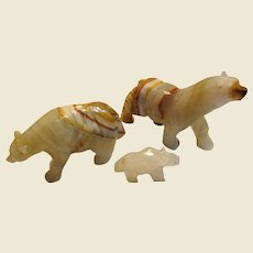 3 Vintage Hand Carved Onyx Polar Bear Sculptures