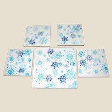 Snowflake Hand Made Tile Coasters & Trivet Set