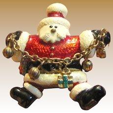 Jumping Santa w/ Garland of Gifts Pin
