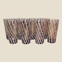 Seasonal 8 Hand Blown Studio Glass Tumblers, Christmas Colors!