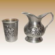 Pewter Wine Pitcher w/ Cup, Made in Germany, Rein Zinn 95%