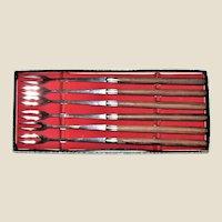 Set 6 Retro Teak Handle Fondue Forks, Teak & Stainless Steel, Original Box, Made in Japan, Like New