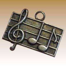 Vintage Sterling Music Score Charm