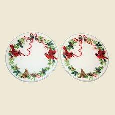 "Pair ""Royal Norfolk"" Cardinal Christmas Dinner Plates - Ribbon, Holly & Berries - 10"", Like New"