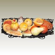 15 Hand Cut Italian Alabaster Fruit in Raffia Bowl