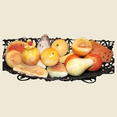 15 Hand Cut Italian Alabaster Fruit in Raffia Bowl