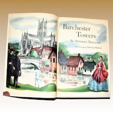 1945 Edition Barchester Towers by Anthony Trollope Beautiful Color Illustrations HC
