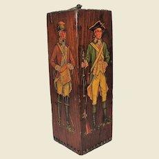 """Colonial Soldiers Wood Block Sculpture, Unusual! 10"""""""