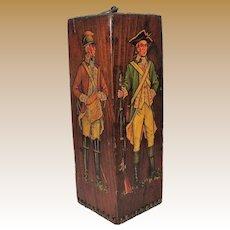 Colonial Soldiers Wood Block Sculpture, Unusual!