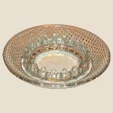 "Vintage Clear Hobnail Bubble Depression Glass Ashtray 6 1/4"" Mint"