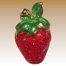 Small Gold Tone & Enamel Strawberry Pin