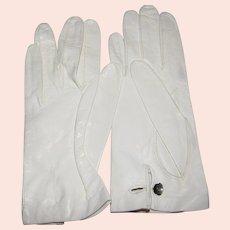 White Leather Gloves w/ Rhinestone Button Sz 6 1/2, Never Worn