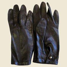 Dark Brown Kid Leather Gloves by Dawnelle, Size 7