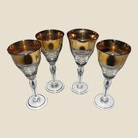4 Art Deco Deep Gold Encrusted Cordial, Liquor, Port Wine Glasses