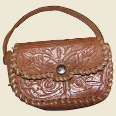 Delightful Small Tooled Leather Doll Purse