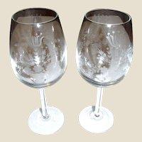 Pair Vintage Large Wedding Wine Goblets w/ Etched Flower Bouquet