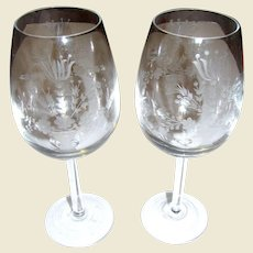 Pair Vintage Large Wedding Wine Goblets w/ Etched Flower Bouquet